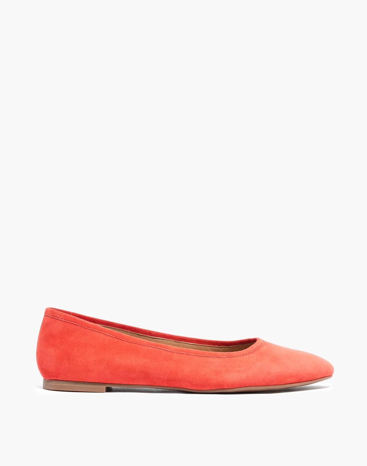 The Reid Ballet Flat in Suede in coastal orange image 2