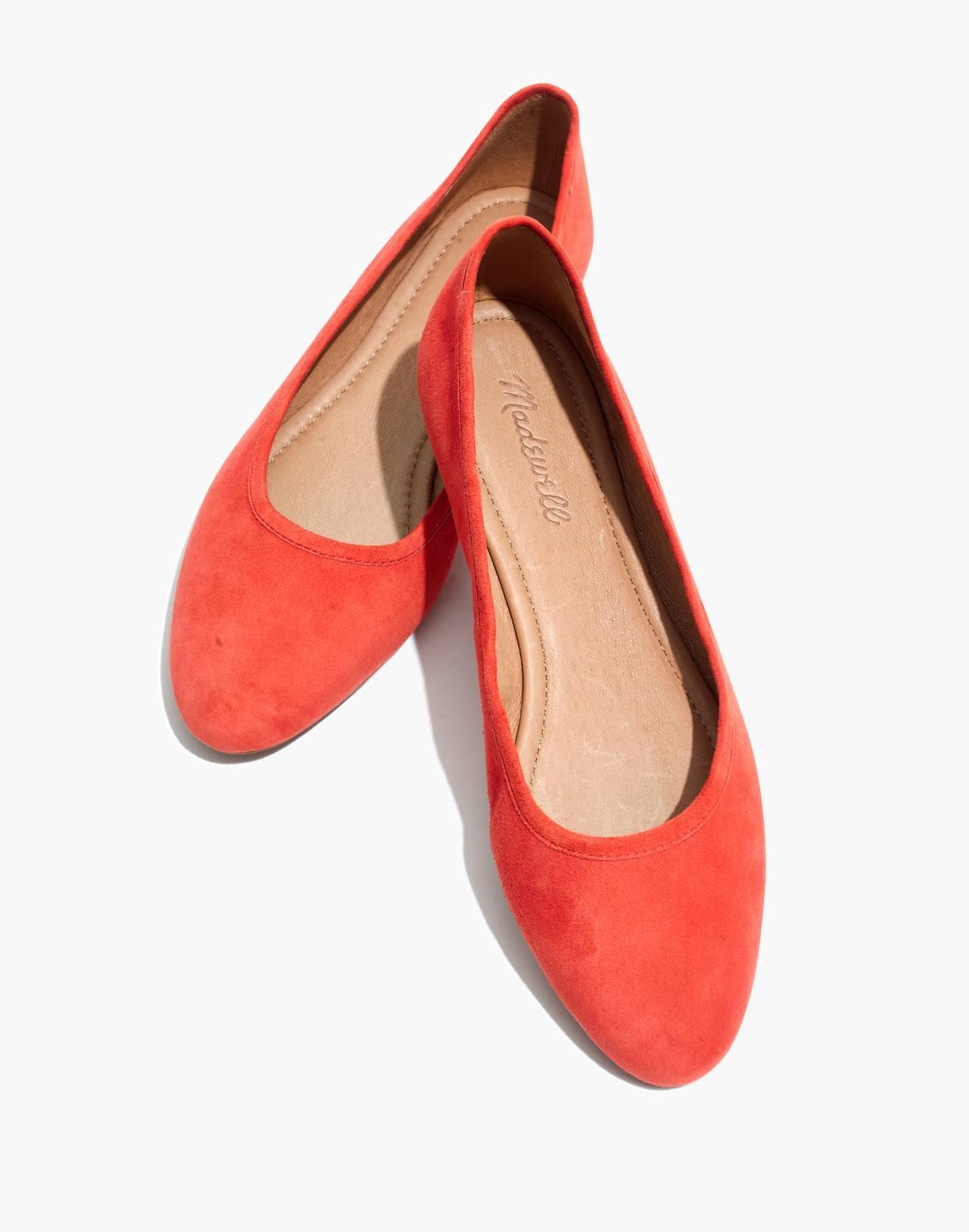 The Reid Ballet Flat in Suede in coastal orange image 1
