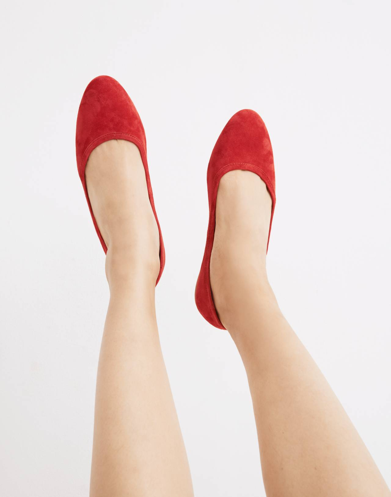 The Reid Ballet Flat in Suede in cranberry image 2