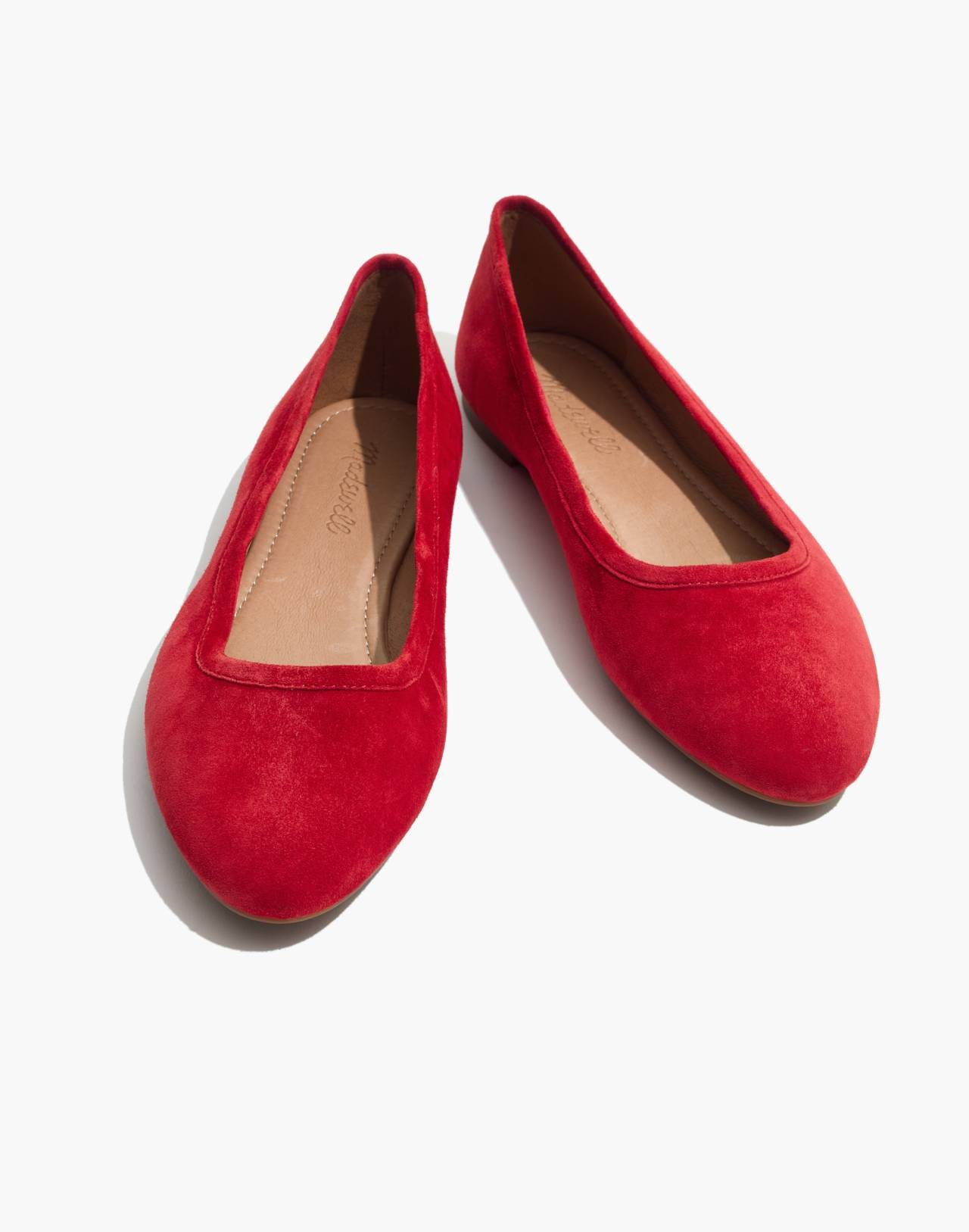The Reid Ballet Flat in Suede in cranberry image 1