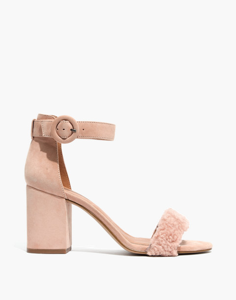 The Regina Ankle-Strap Shearling Sandal in sheer pink image 3
