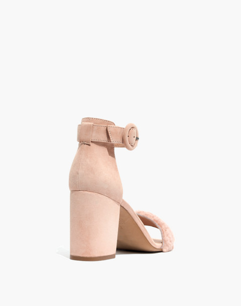 The Regina Ankle-Strap Shearling Sandal in sheer pink image 4