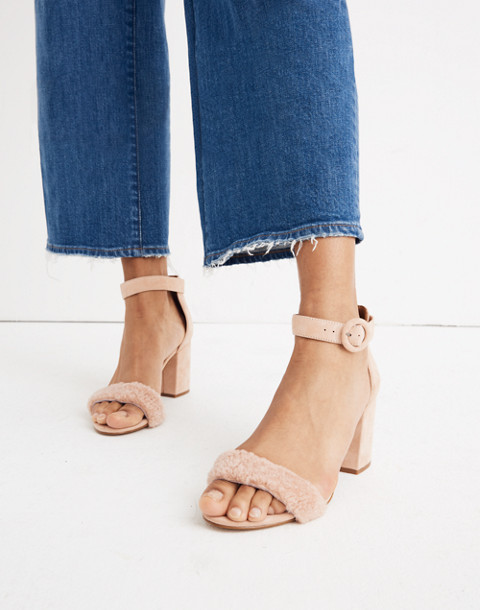 The Regina Ankle-Strap Shearling Sandal in sheer pink image 2