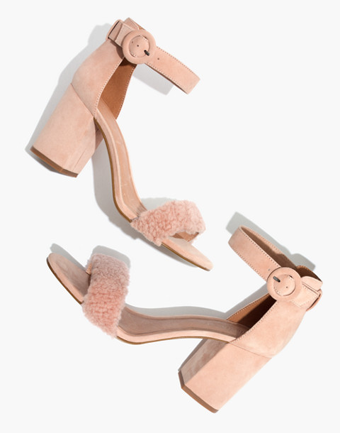 The Regina Ankle-Strap Shearling Sandal in sheer pink image 1