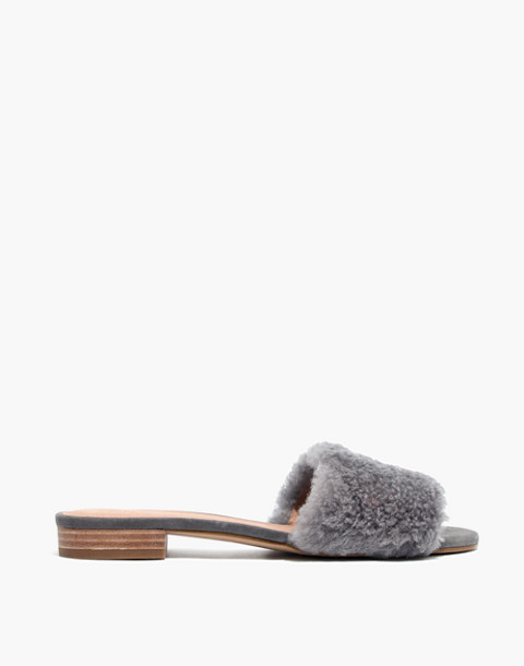 The Jackson Shearling Slide Sandal in stonewall image 3