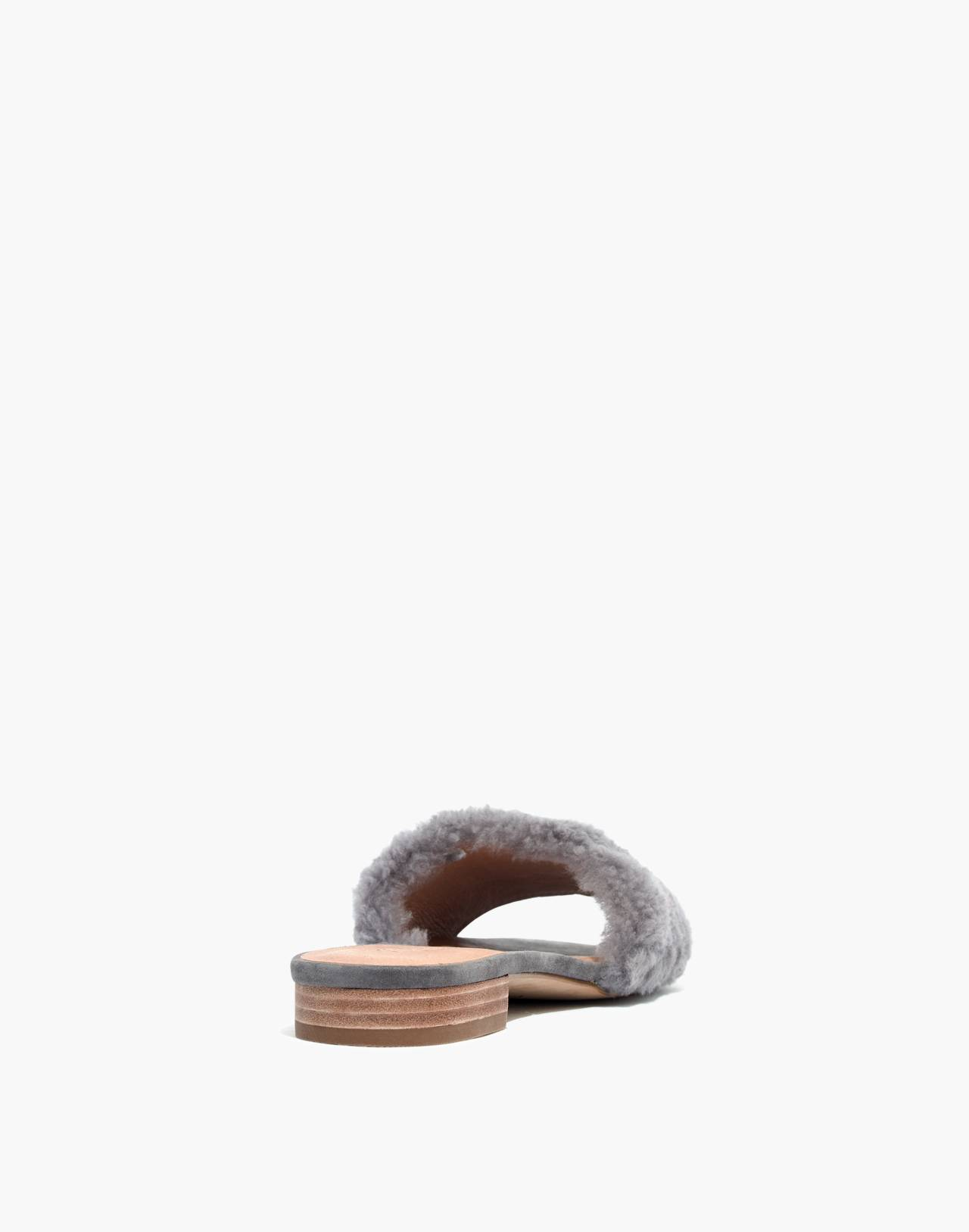 The Jackson Shearling Slide Sandal in stonewall image 4