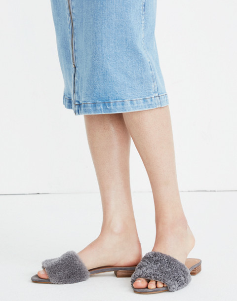 The Jackson Shearling Slide Sandal in stonewall image 2