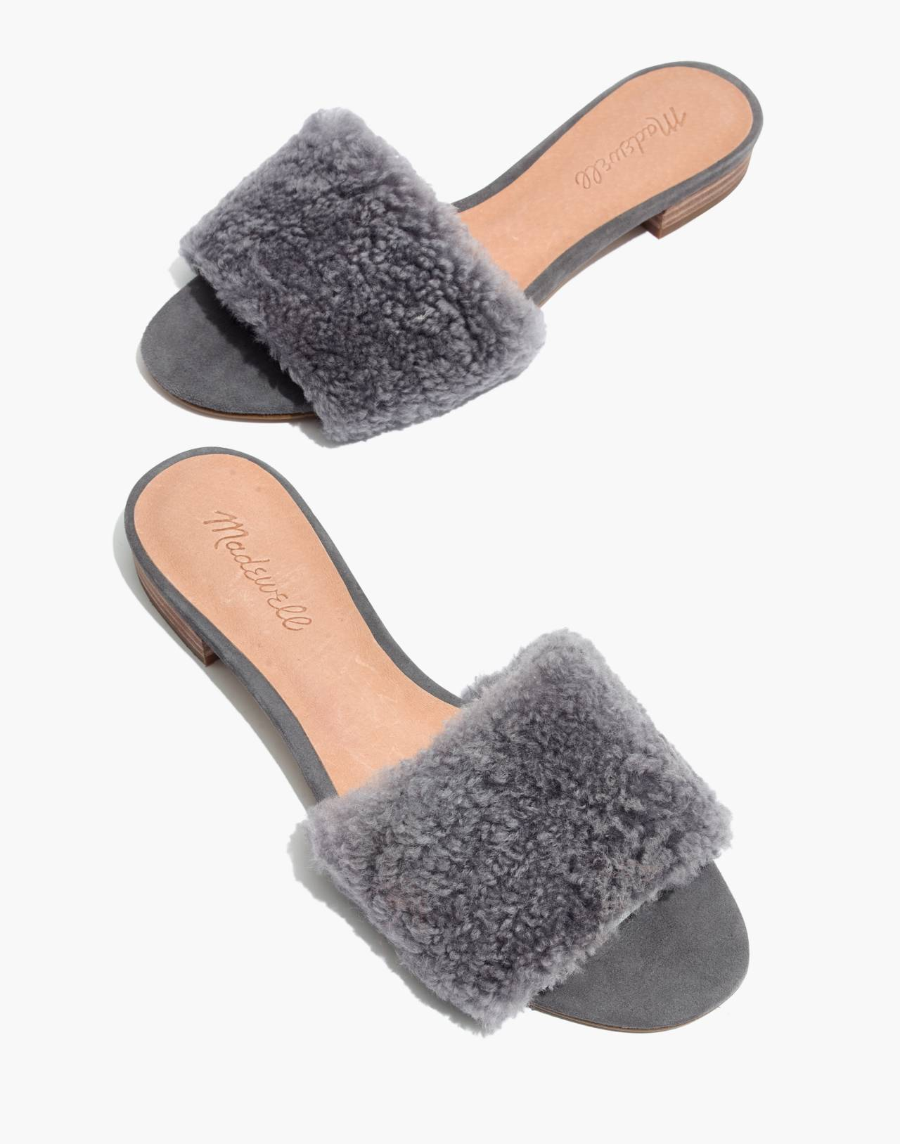 The Jackson Shearling Slide Sandal in stonewall image 1
