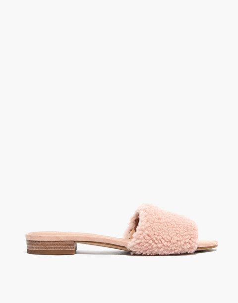 The Jackson Shearling Slide Sandal in sheer pink image 2
