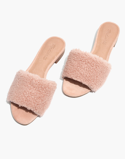 The Jackson Shearling Slide Sandal in sheer pink image 1