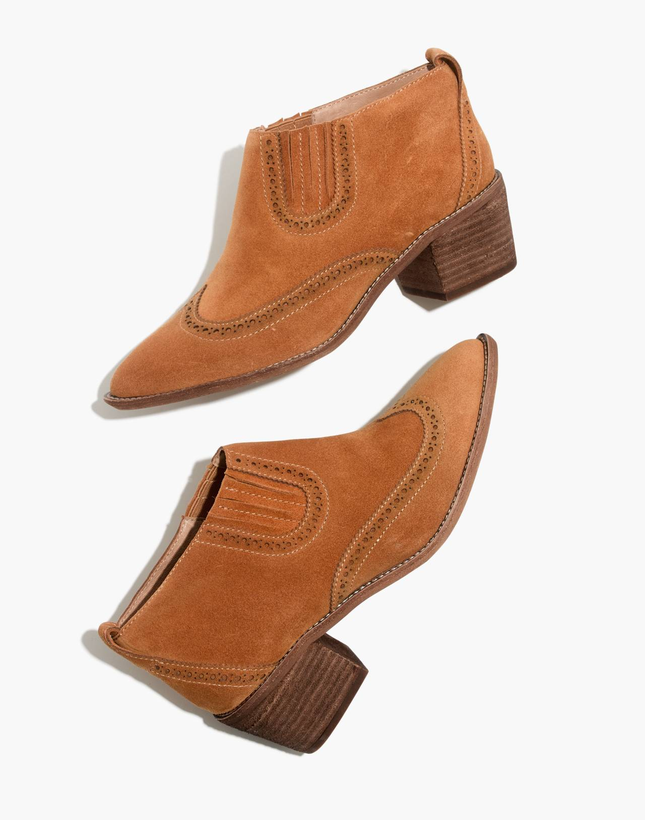 The Grayson Brogue Chelsea Boot in amber brown image 1