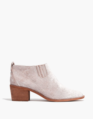 The Grayson Chelsea Boot in Velvet in distressed stone image 2