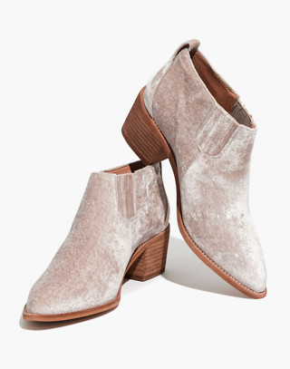 The Grayson Chelsea Boot in Velvet in distressed stone image 1