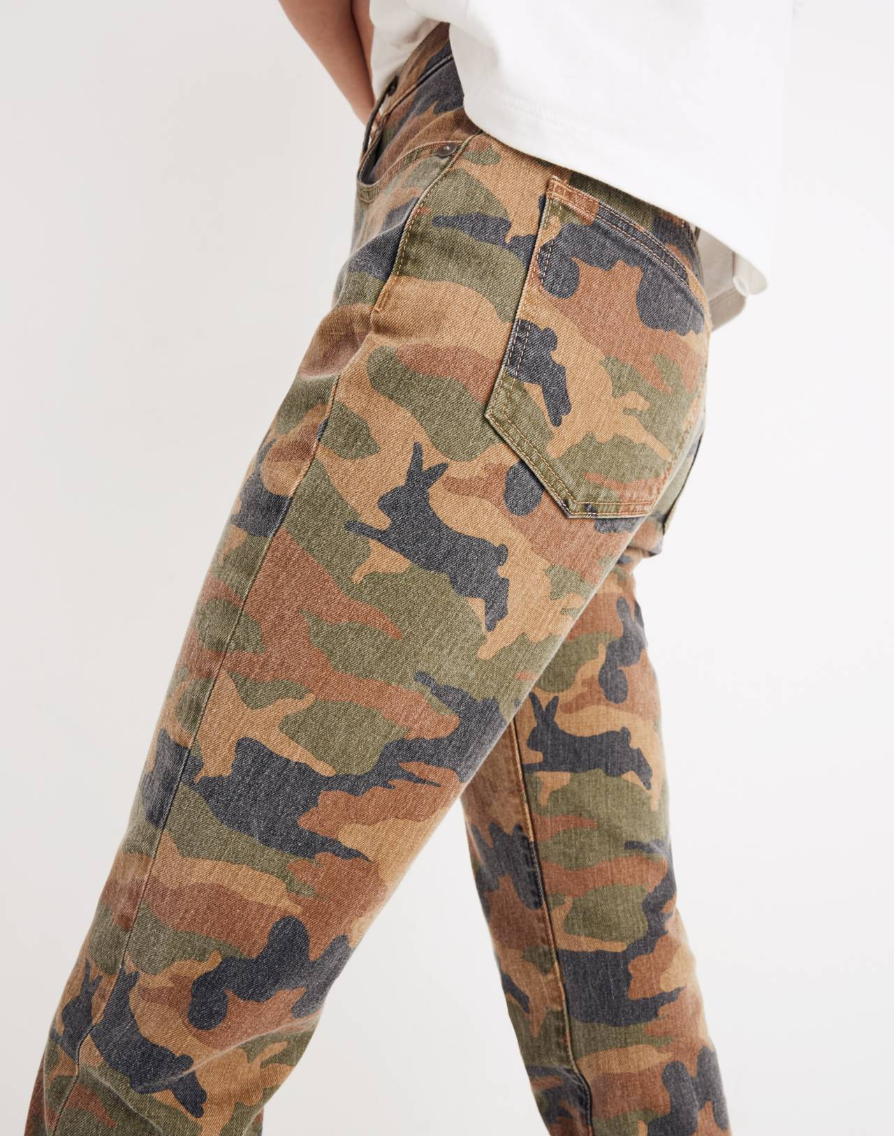 The High-Rise Slim Boyjean in Cottontail Camo in bunny classic desert image 2