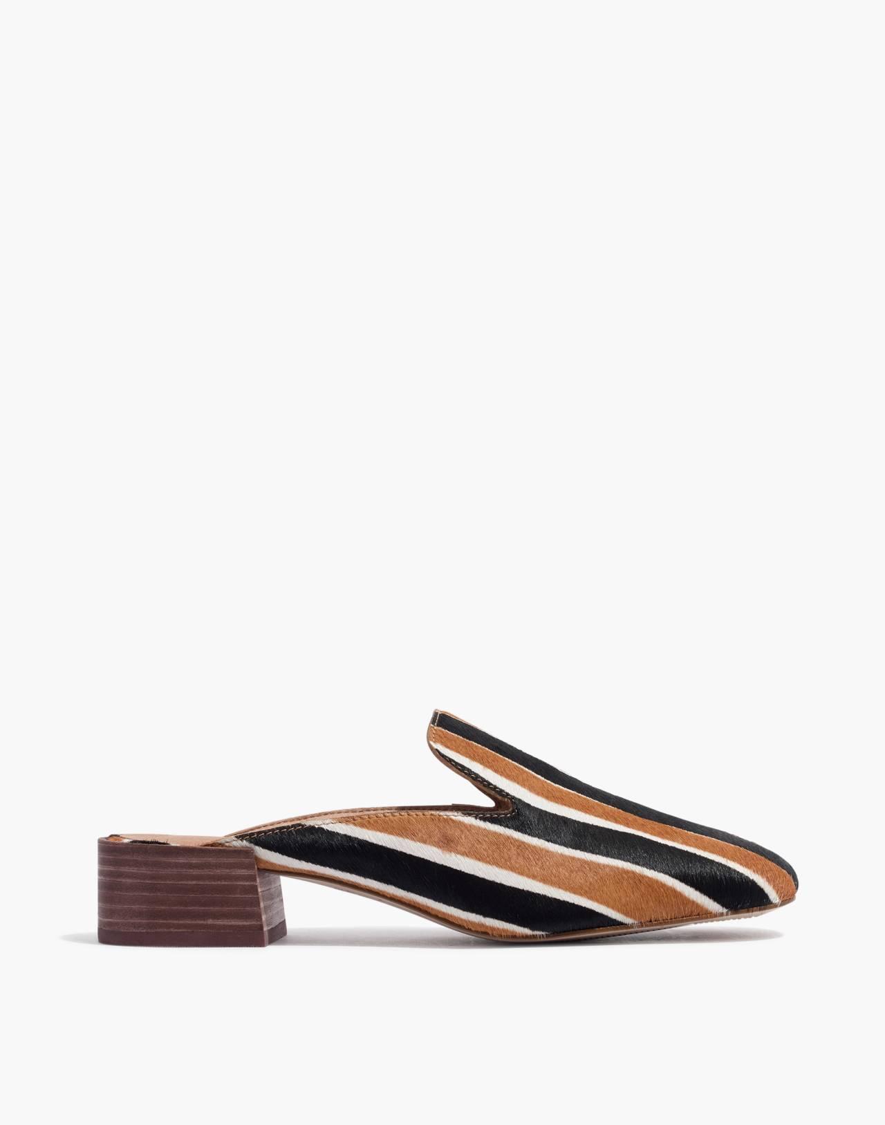 The Willa Loafer Mule in Striped Calf Hair in acorn multi image 3