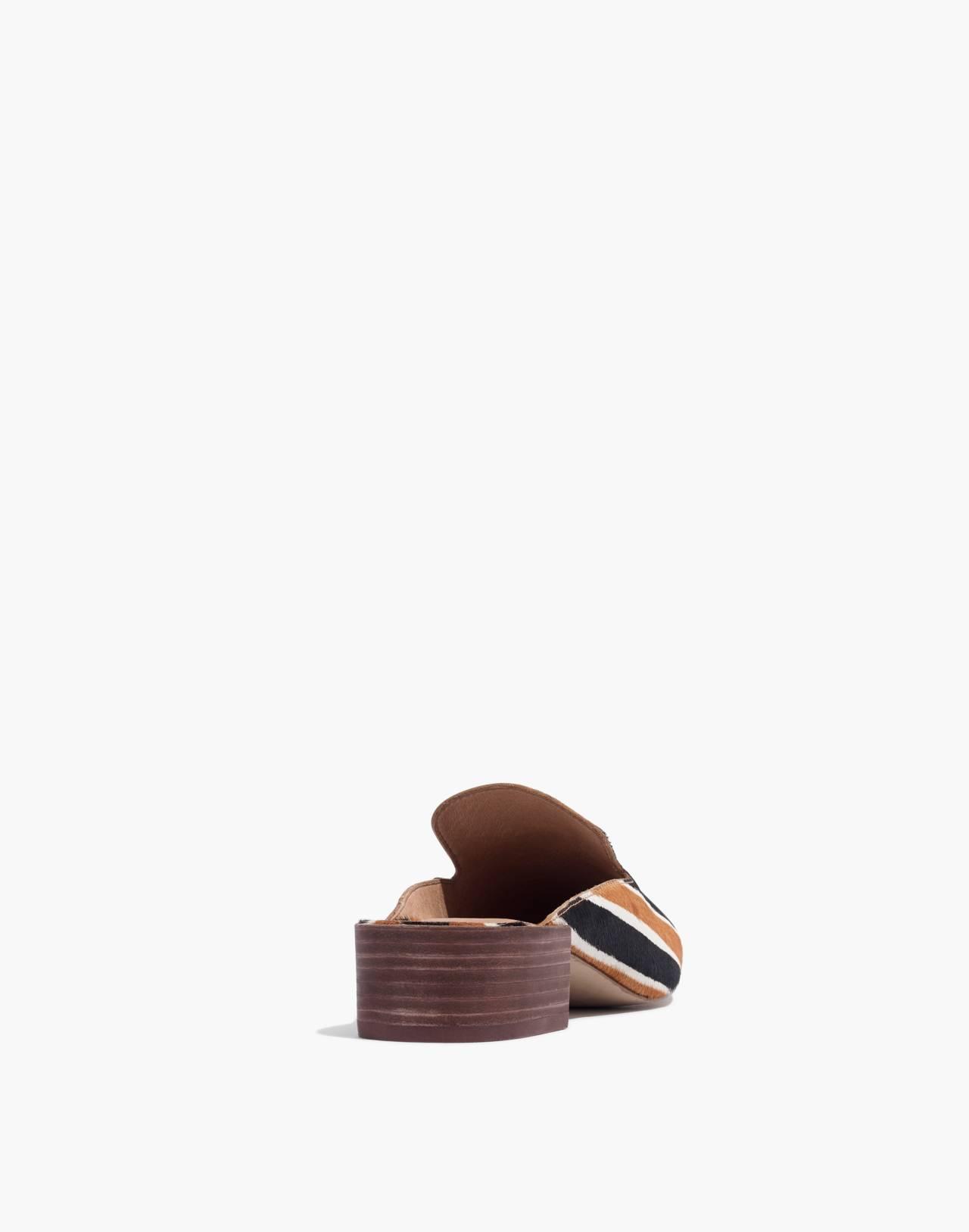 The Willa Loafer Mule in Striped Calf Hair in acorn multi image 4