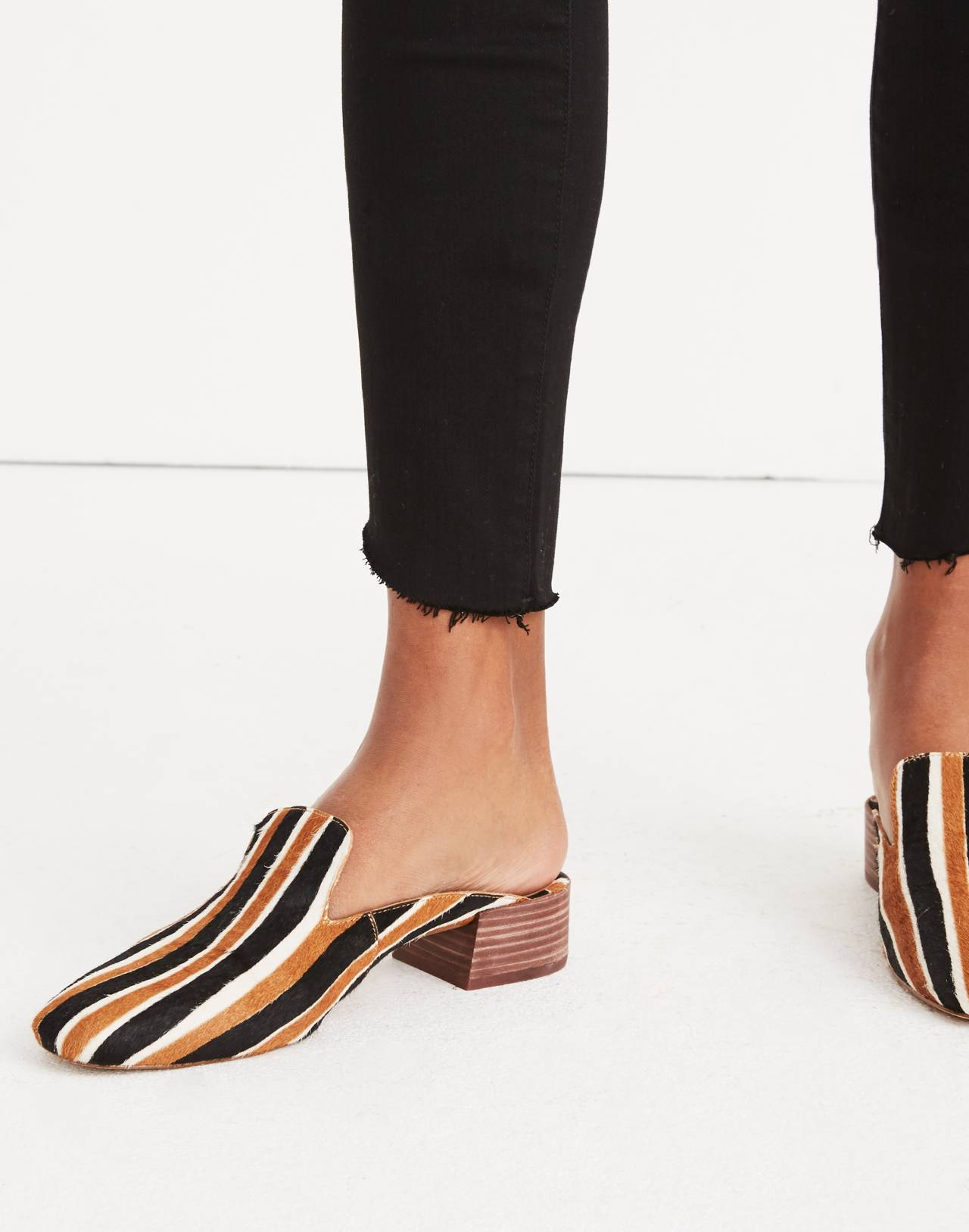 The Willa Loafer Mule in Striped Calf Hair in acorn multi image 2