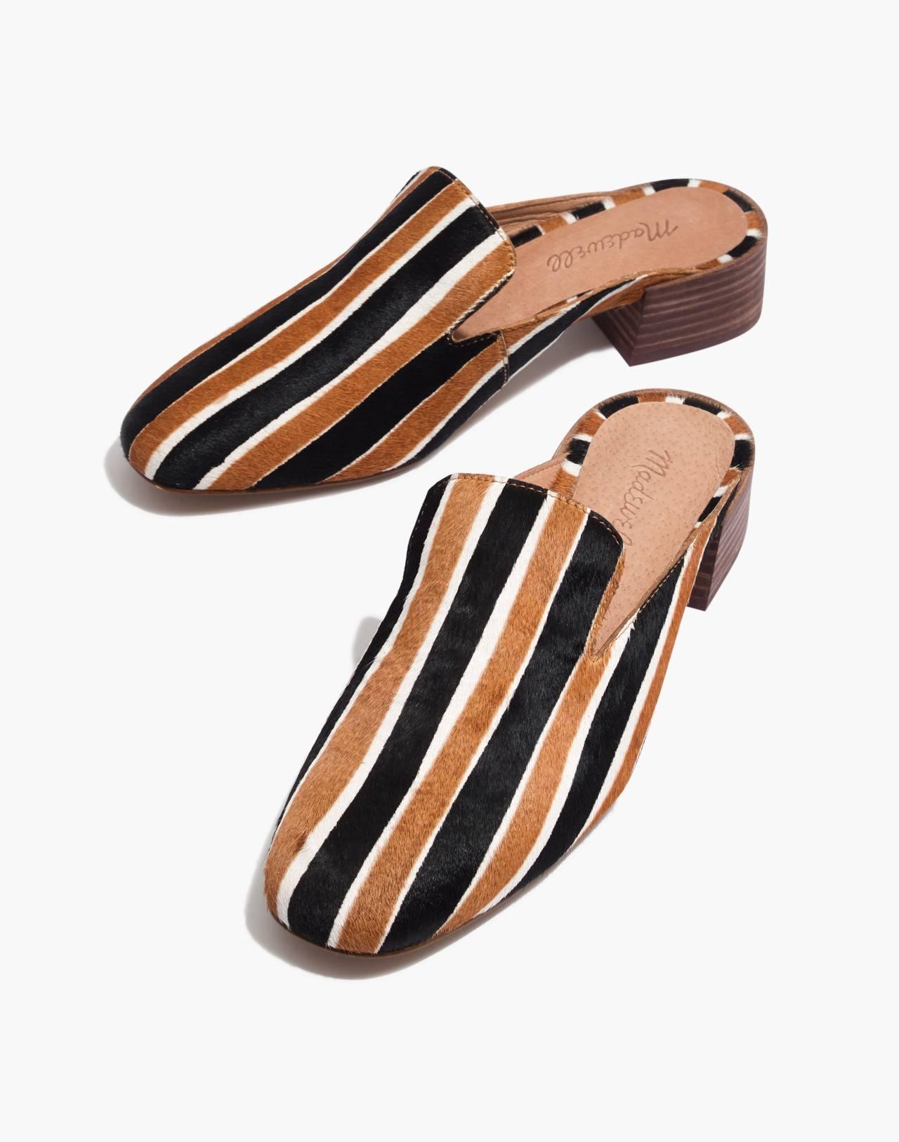 The Willa Loafer Mule in Striped Calf Hair in acorn multi image 1