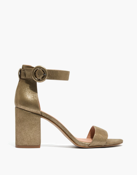 The Regina Ankle-Strap Sandal in Metallic in olive bronze image 3