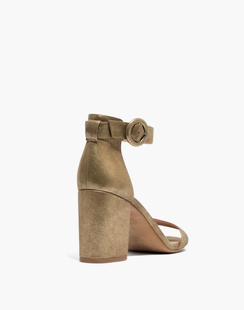 The Regina Ankle-Strap Sandal in Metallic in olive bronze image 4