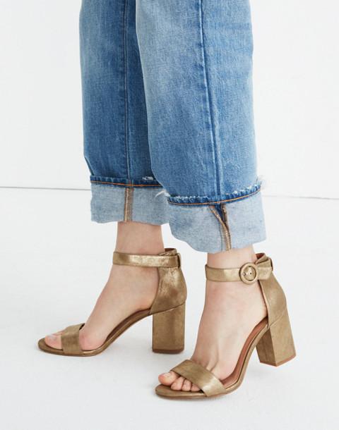 The Regina Ankle-Strap Sandal in Metallic in olive bronze image 2