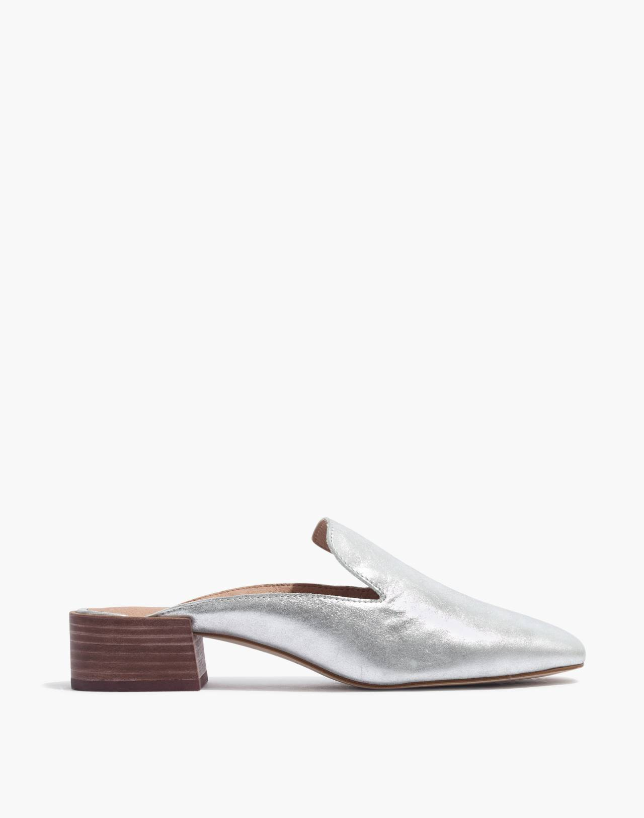 The Willa Loafer Mule in Metallic in silver image 2