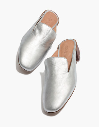 The Willa Loafer Mule in Metallic in silver image 1