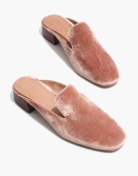 The Willa Loafer Mule in Velvet in mauve shadow image 1