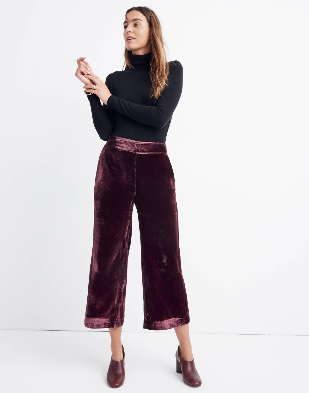 Velvet Huston Pull-On Crop Pants in pinot noir image 1