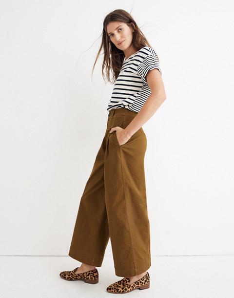 Pleated Wide-Leg Pants in weathered olive image 2