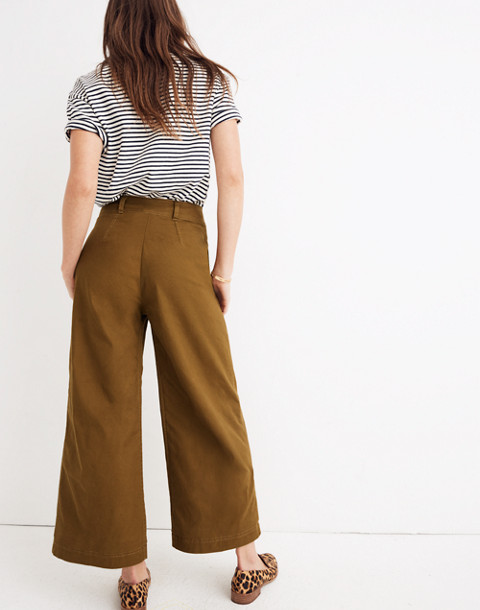 Pleated Wide-Leg Pants in weathered olive image 3