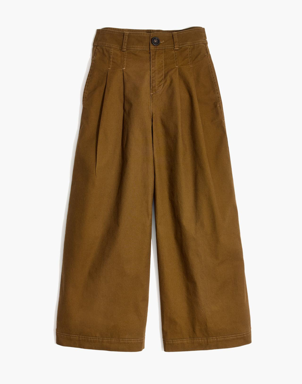 Pleated Wide-Leg Pants in weathered olive image 4
