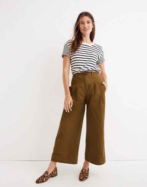 Pleated Wide-Leg Pants in weathered olive image 1