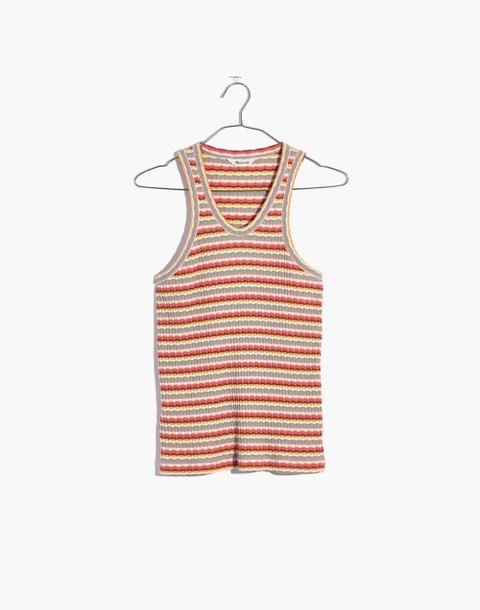 Ribbed U-Neck Tank Top in Stripe