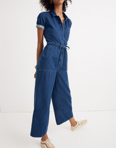 Denim Wide-Leg Utility Jumpsuit in ellinger wash image 2