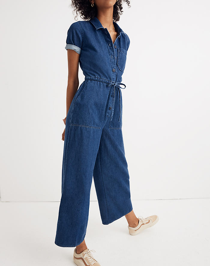 397949c0f20 Denim Wide-Leg Utility Jumpsuit