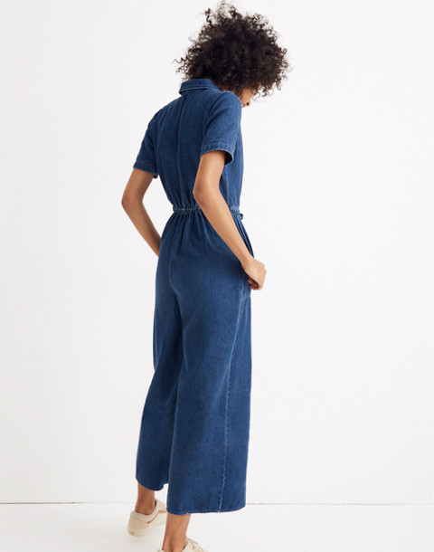 Denim Wide-Leg Utility Jumpsuit in ellinger wash image 3