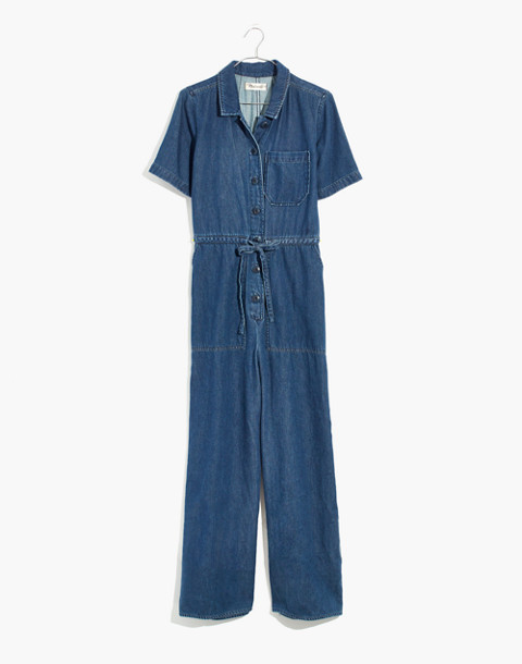 Denim Wide-Leg Utility Jumpsuit in ellinger wash image 4