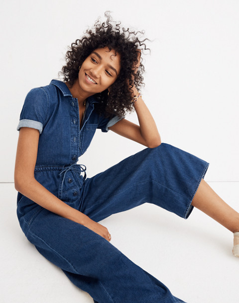 Denim Wide-Leg Utility Jumpsuit in ellinger wash image 1