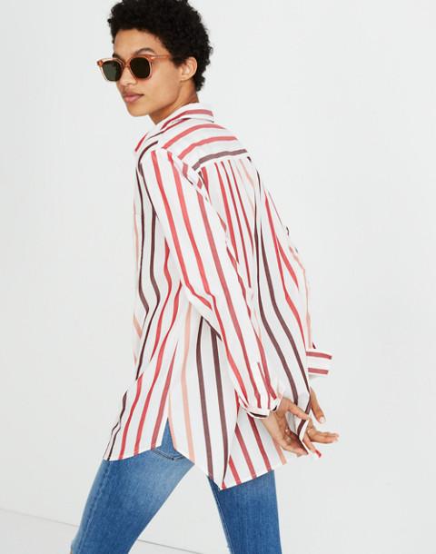 Oversized Ex-Boyfriend Shirt in Lorelei Stripe in cabernet image 2