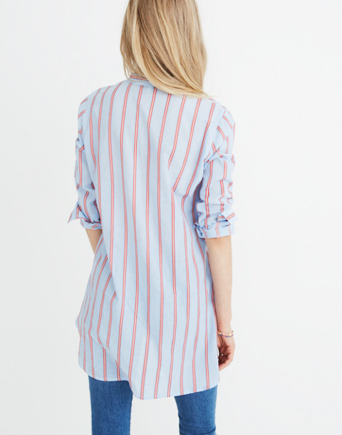 Wellspring Tunic Popover Shirt in Atwater Stripe in dark sea image 3