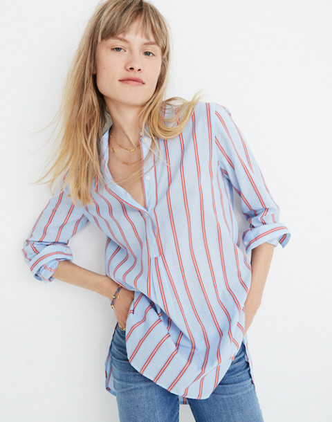 Wellspring Tunic Popover Shirt in Atwater Stripe in dark sea image 1