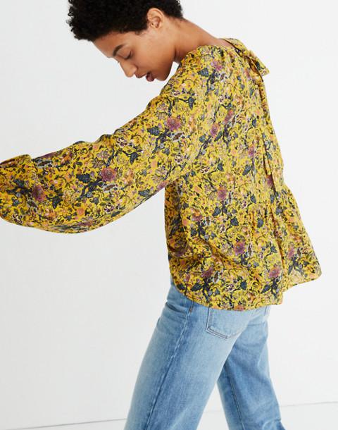 Madewell x Karen Walker® Silk Floral Gennaker Top in upholstery mystic yellow image 3