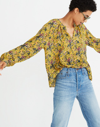 Madewell x Karen Walker® Silk Floral Gennaker Top in upholstery mystic yellow image 1