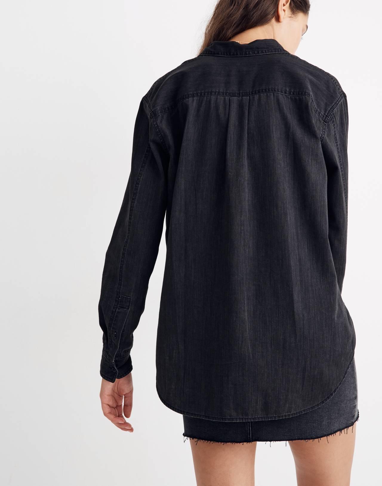 Denim Oversized Ex-Boyfriend Shirt in Lunar Wash in lunar wash image 3