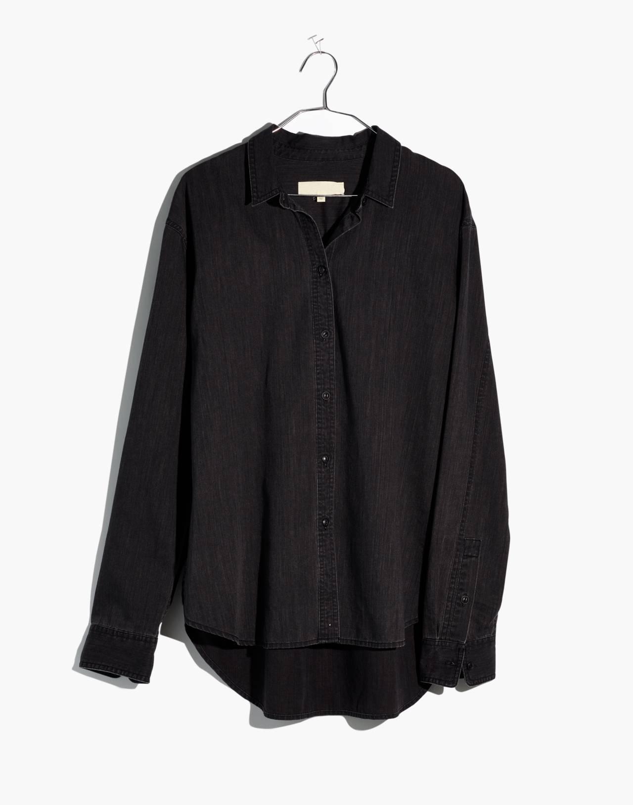Denim Oversized Ex-Boyfriend Shirt in Lunar Wash in lunar wash image 4