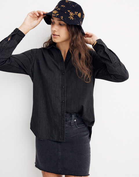 Denim Oversized Ex-Boyfriend Shirt in Lunar Wash in lunar wash image 1