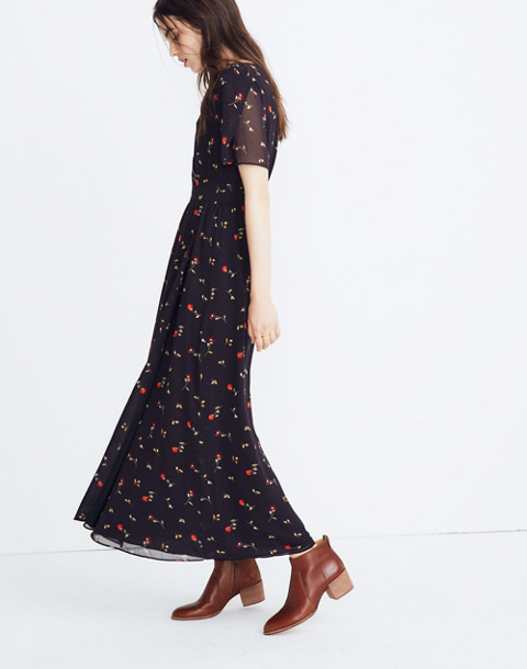 Tulip-Sleeve Maxi Dress in Sweet Blossoms in august juniper berry image 2