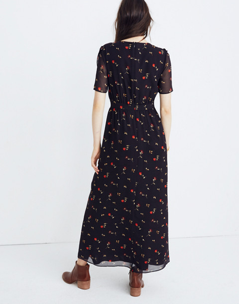 Tulip-Sleeve Maxi Dress in Sweet Blossoms in august juniper berry image 3
