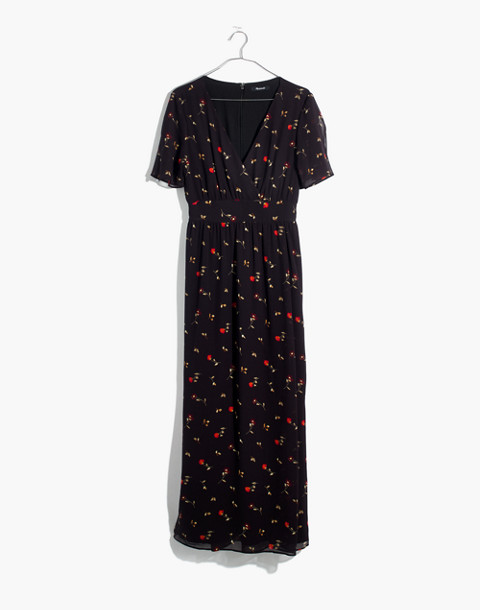 Tulip-Sleeve Maxi Dress in Sweet Blossoms in august juniper berry image 4